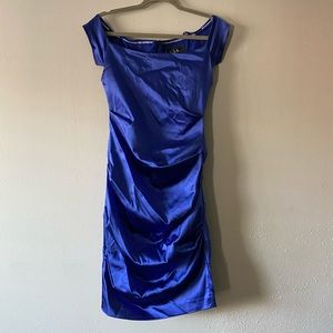 Blue silk dress.